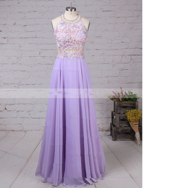 A-Line Scoop Neck Chiffon Tulle Sweep Train Beading Lavender Long Prom Dresses