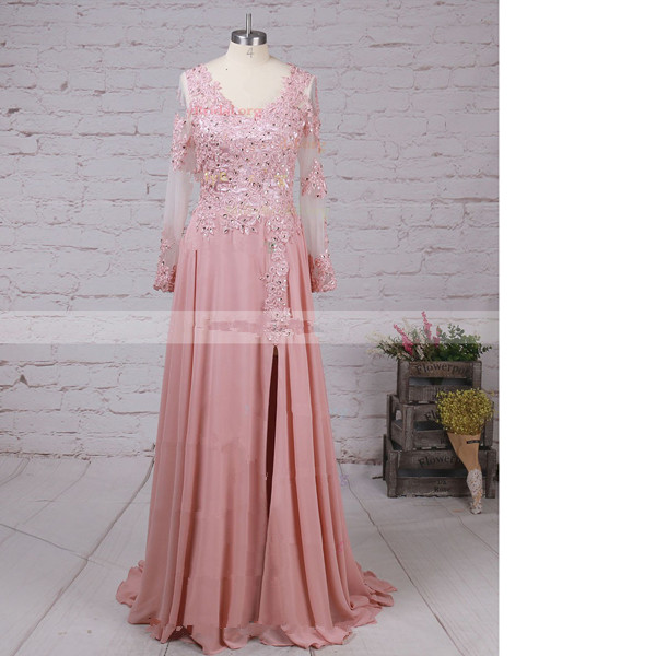 A-Line V-Neck Chiffon Tulle Sweep Train Beading Appliques Lace Pink Sexy Long Prom Dresses