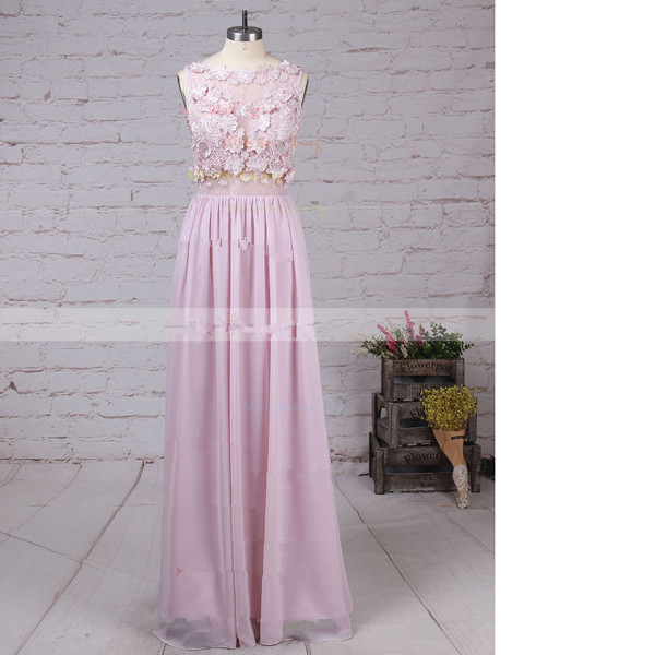 A-Line Scoop Neck Lace Chiffon Floor-Length Appliques Lace Pink Long Prom Dresses