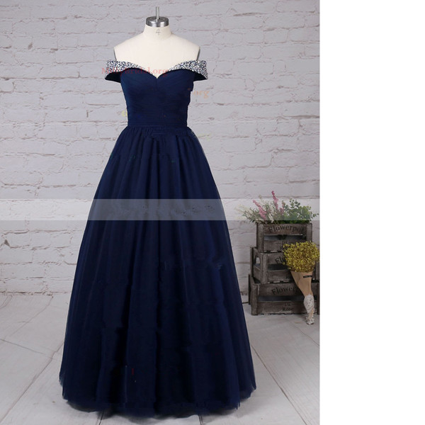 Princess Off-The-Shoulder Tulle Floor-Length Beading Open Back Dark Navy Long Prom Dresses