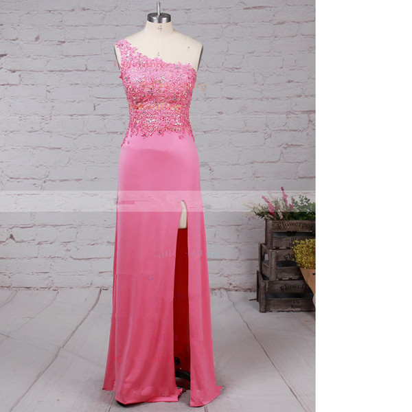 Sheath/Column One Shoulder Tulle Jersey Floor-Length Beading Pink Long Prom Dresses