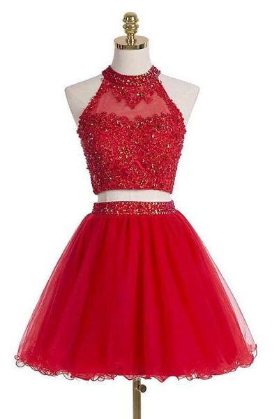 Red A-line High Neck Tulle Sleeveless Short Mini Appliques Lace Sequins Homecoming Dresses