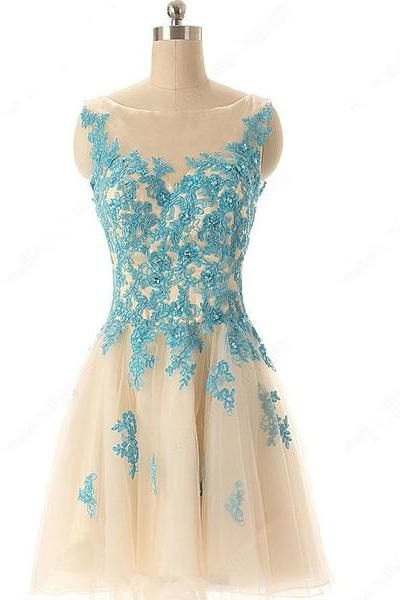Beading A-line Tulle Appliques Lace Scoop Neck Short Mini Homecoming Dresses