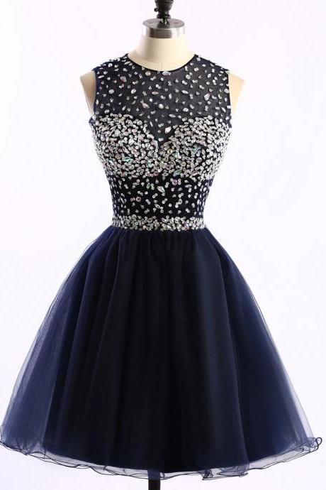 Short Mini A-line Scoop Neck Dark Navy Tulle Sleeveless Crystal Detailing Open Back Homecoming Dresses