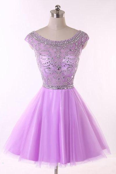 Backless A-line Scoop Neck Lavender Tulle Sleeveless Beading Crystal Detailing Short Mini Homecoming Dresses