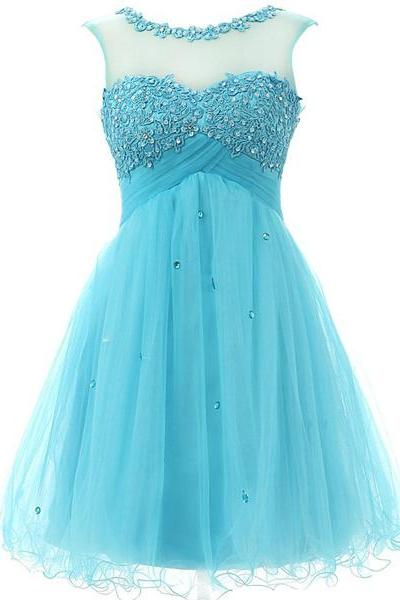Blue A-line Scoop Neck Tulle Short Mini Beading Appliques Lace Sleeveless Homecoming Dresses