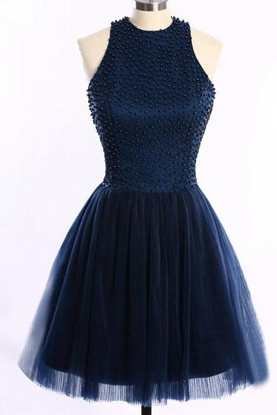 Short Mini A-line Scoop Neck Dark Navy Tulle Sleeveless Pearl Detailing Open Back Homecoming Dresses