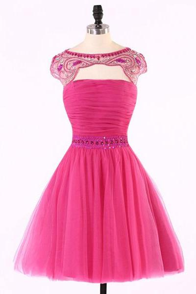 Fuchsia A-line Scoop Neck Cap Straps Sleeveless Tulle Beading Crystal Detailing Open Back Short Mini Homecoming Dresses