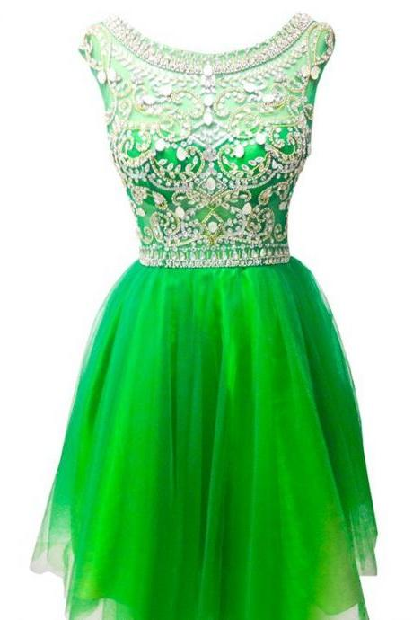 Pretty A-line Scoop Neck Tulle Sleeveless Beading Short Mini Homecoming Dresses