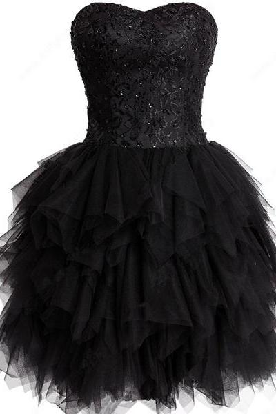 Black Short Mini A-line Tulle Sweetheart Lace Sleeveless Beading Tiered Homecoming Dresses