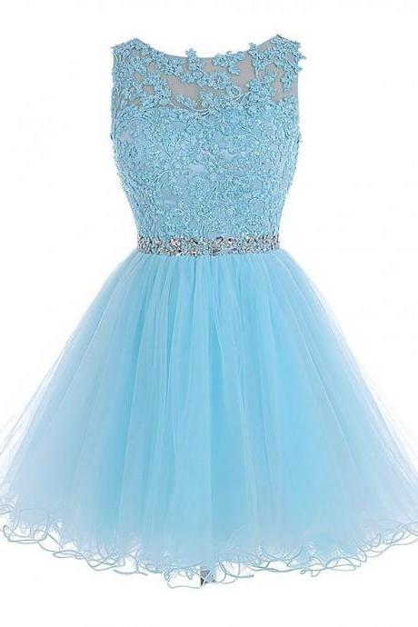 Sweet Princess Scoop Neck Tulle Sleeveless Short Mini Beading Appliques Lace Homecoming Dresses