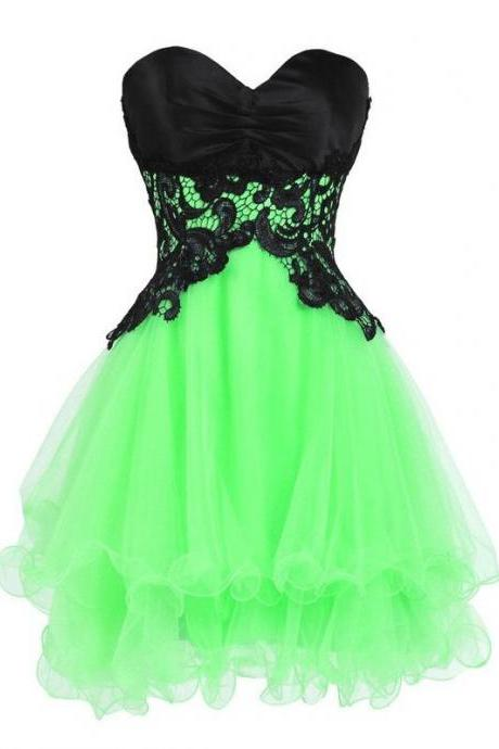Princess Sweetheart Organza Short Mini Sleeveless Appliques Lace Tiered Lace-up Strapless Homecoming Dresses