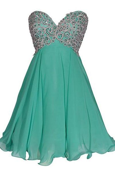 Empire Sweetheart Chiffon Short Mini Sleeveless Sequins Inexpensive Homecoming Dresses