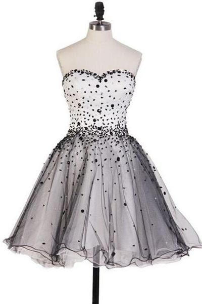 Gray A-line Sweetheart Tulle Sleeveless Short Mini Lace-up Beading Homecoming Dresses