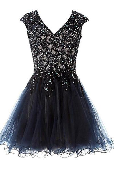 Black A-line V-neck Satin Tulle Short Mini Beading Appliques Lace Open Back Homecoming Dresses