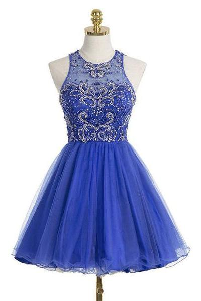 Royal Blue A-line Scoop Neck Tulle Short Mini Sleeveless Beading Homecoming Dresses