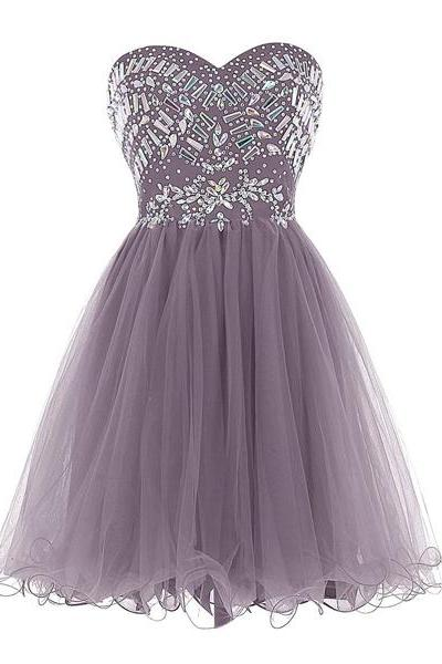 A-line Sweetheart Tulle Short Mini Strapless Cascading Ruffles Crystal Detailing Homecoming Dresses