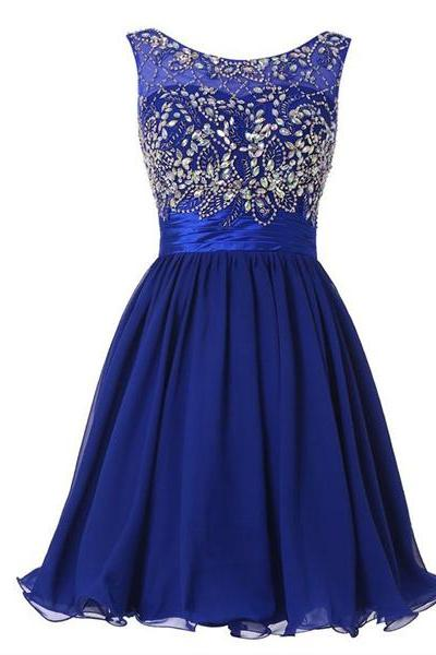 Sleeveless A-line Scoop Neck Chiffon Tulle Short Mini Beading Crystal Detailing Homecoming Dresses