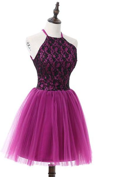 Purple A-line Halter Short Mini Tulle Beading Appliques Lace Open Back Elegant Homecoming Dresses