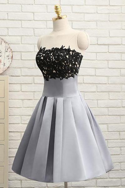Gray A-line Strapless Satin Knee-length Beading Appliques Lace Homecoming Dresses