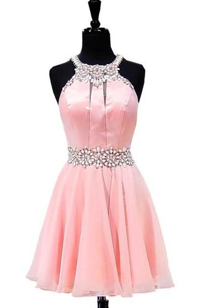 Custom Made Light Pink Halter Neckline Pearl and Crystal Beading Chiffon Evening Dress, Homecoming Dress, Cocktail Dresses, Graduation Dresses