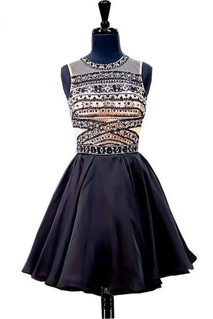 Stunning Junior A-Line Scoop Neck Beaded Crystals Detailing Backless Black Short Homecoming Dresses