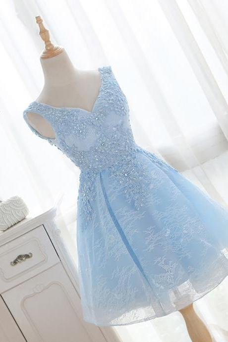 Short Sky Blue A-Line V-Neck Lace-Up Tulle Appliques Lace Homecoming Dresses
