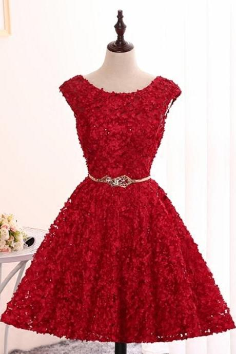 Short A-Line Sweetheart Appliques Lace Backless Lace-Up Homecoming Dresses