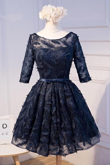 Short A-Line Appliques Lace Short Sleeves Lace-Up Backless Homecoming Dresses