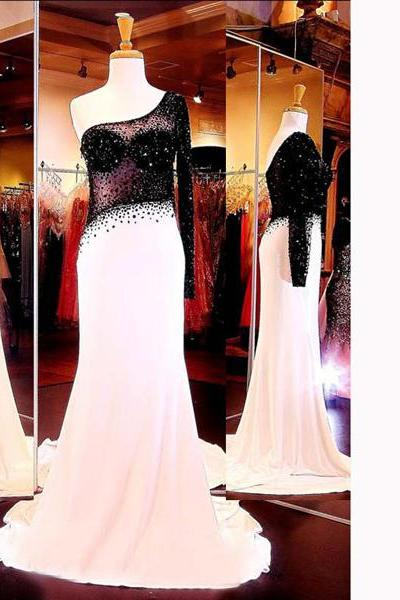 Court Train Multi Colours Chiffon Tulle Crystal Detailing Long Sleeve One Shoulder Prom Dresses