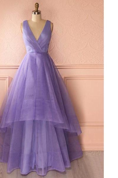 Princess V-Neck Organza Floor-Length Tiered Sleeveless Ruffles Elegant Discounted Long Prom Dresses