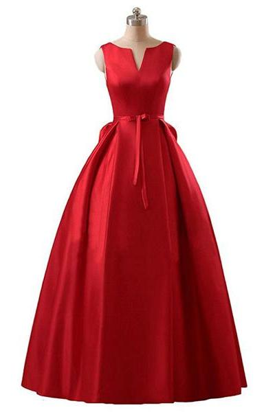 Elegant Princess Scoop Neck Satin Floor-Length Sashes/Ribbons Lace-Up Red Vintage Long Prom Dresses