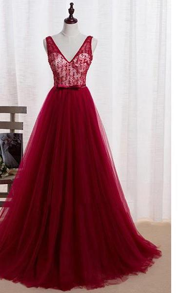 Princess V-Neck Tulle Sweep Train Sashes/Ribbons Beading Burgundy Backless Original Open Back Long Prom Dresses