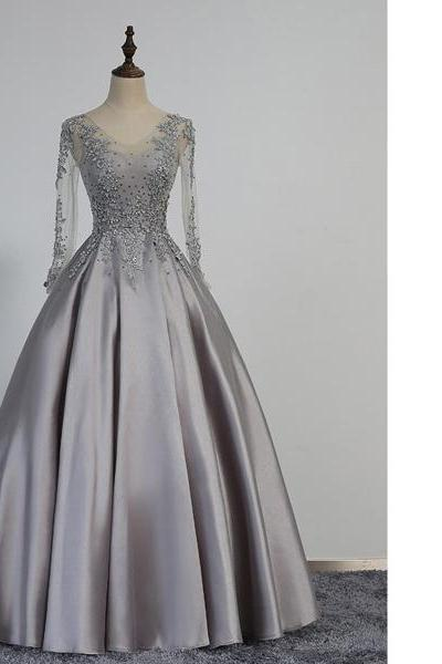 Fashion Gray Princess V-Neck Satin Tulle Floor-Length Beading Appliques Lace Long Sleeve Lace-Up Prom Dresses