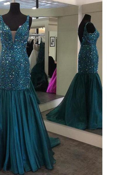 Trumpet/Mermaid V-Neck Organza Sweep Train Beading Open Back Boutique Long Prom Dresses