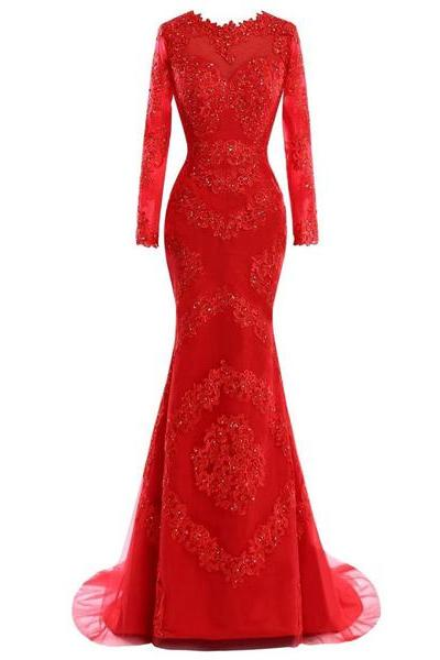 Trumpet/Mermaid Scoop Neck Tulle Sweep Train Appliques Lace Red Long Sleeve Long Prom Dresses