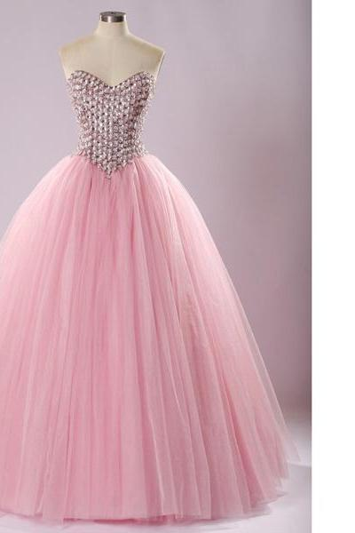 Classy Pink Ball Gown Sweetheart Tulle Floor-Length Beading Lace-Up Long Prom Dresses