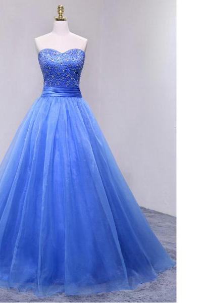 Royal Ball Gown Sweetheart Organza Floor-Length Beading Sequins Lace-Up Inexpensive Long Prom Dresses