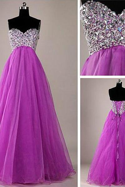 Purple Princess Sweetheart Organza Floor-Length Crystal Detailing Long Prom Dresses