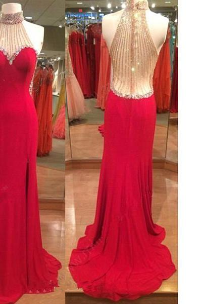 Red Trumpet/Mermaid High Neck Chiffon Tulle Sweep Train Crystal Detailing Split Front Long Prom Dresses
