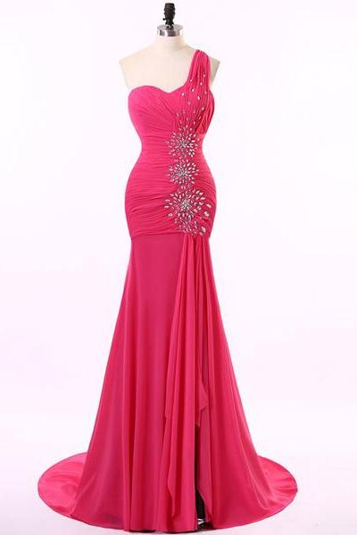 Crystal Embellished Chiffon One-Shoulder Sweetheart Floor Length Trumpet Prom Dress Featuring Sweep Train