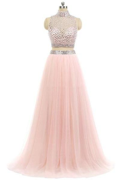 High Neck Pink Tulle Sweep Train Beading Two Piece Sweet Flow Long Prom Dresses