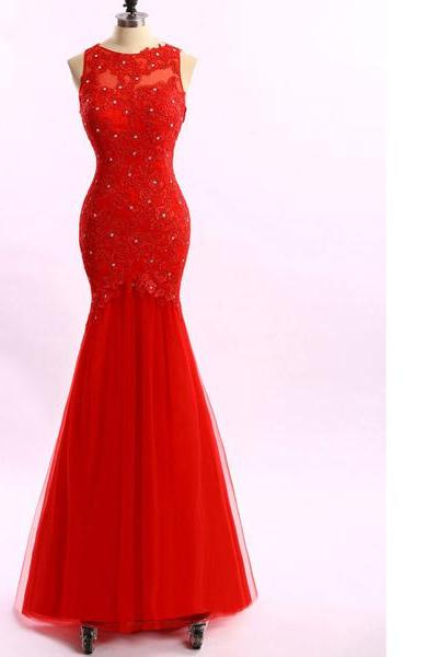 Trumpet/Mermaid Scoop Neck Tulle Appliques Lace Crystal Detailing Popular Red Long Prom Dresses