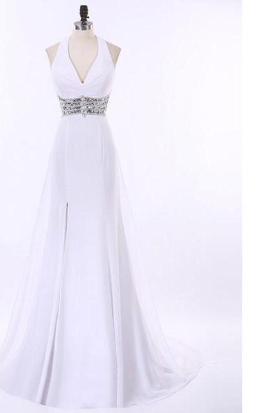 Halter A-Line White Chiffon Sweep Train Beading Split Front Backless Sequins Long Prom Dresses
