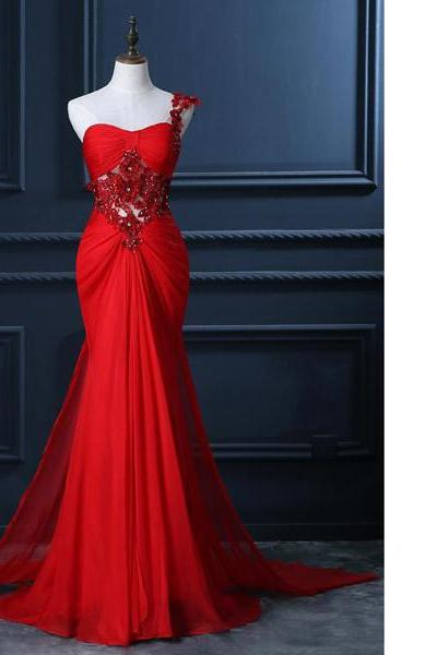 Trumpet/Mermaid One Shoulder Chiffon Beading Appliques Lace Ruffles Red Long Prom Dresses