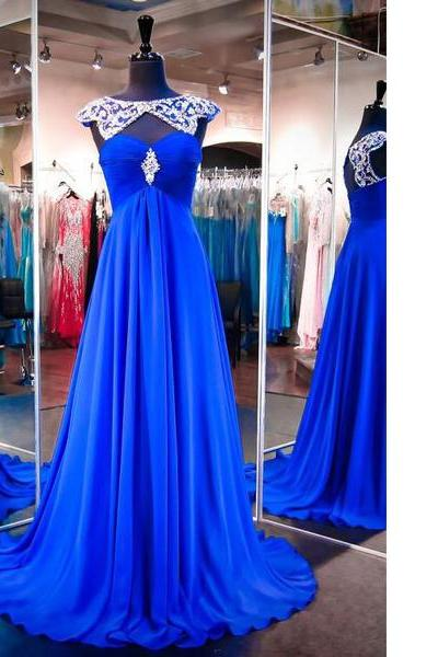Royal Blue Scoop Neck Chiffon Tulle Sweep Train Beading Online Sparkle Shine Long Prom Dresses