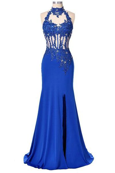 Best Royal Blue Trumpet/Mermaid High Neck Chiffon Tulle Beading Open Back Long Prom Dresses