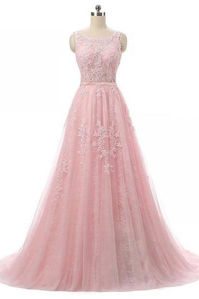 New A-Line Scoop Neck Tulle Lace Sweep Train Sashes/Ribbons Pink Long Prom Dresses