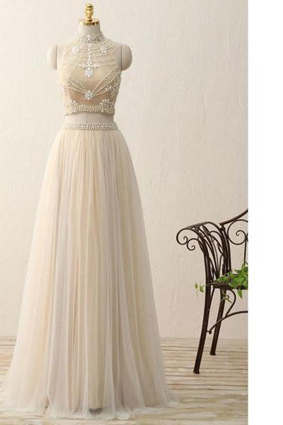 A-Line High Neck Tulle Floor-Length Beading Two Piece White Long Prom Dresses