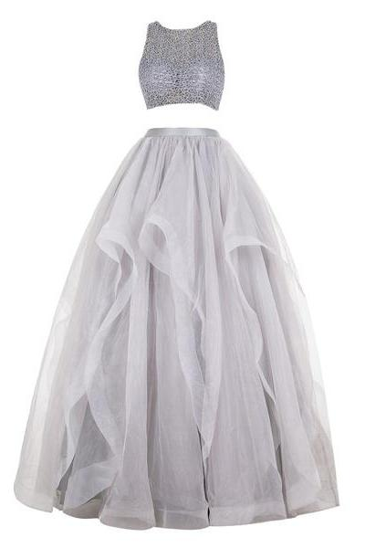Gray Ball Gown Scoop Neck Organza Floor-Length Beading Two-Pieces Fabulous Long Prom Dresses